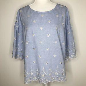Sanctuary blue pinstriped Viola blouse, size L